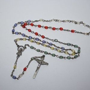 Vintage silver and colorful rosary